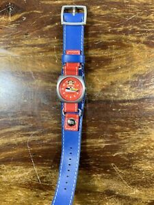Rare PAUL FRANK JULIUS & FRIENDS Red Blue Watch Tie Second Hand - Needs Battery