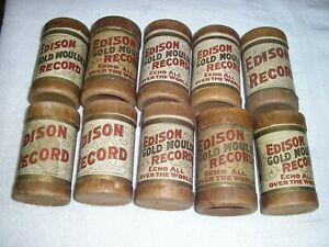 Edison (12) Gold Moulded Cylinder & (3) Edison record empty tubes with tops nice