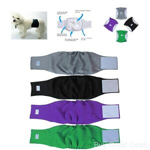 Teamoy Reusable Wrap Diapers For Male Dogs Washable Belly Band Size L1 4 Pack