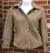 Route 66 womans large coat tan brown Jacket Chevron Pattern Detachable Hood
