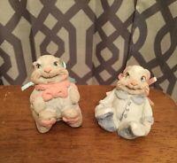 Vintage Cast Art Kristin Bunny Rabbit Figurines Boy & Girl Baby Bunnies ADORABLE