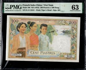 French Indochina/ Vietnam 100 Piastres = 100 Dong 1954 P-108 PMG63