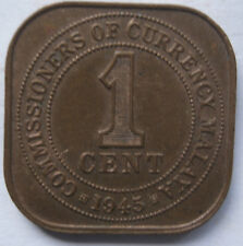Commissioners of Currency Malaya 1 cent 1945 coin (A)