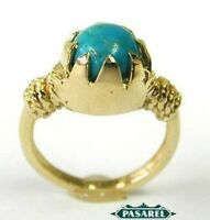 New Design 14k Yellow Gold Turquoise Ring