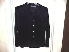 Private Edition by Chico's Purple Velour Button Front Long Sleeve Top 2 L 12