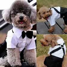 Pet Dog Puppy Tuxedo Bow Tie Shirt Wedding Formal Dress Suit Costume Clothes Hot