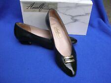 Vintage Pair Amalfi Cygnet Navy Kid Leather Patent Toe Pump 8.5 Aaaa 8 1/2 4A