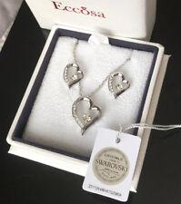 Schmuck Set Herz mit SWAROVSKI® KRISTALLEN Kette Silber 18K Weißgold pl Box