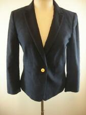Womens 10T 10 Tall Ann Taylor Navy Blue Jacket Blazer Sport Coat Cotton Stretch
