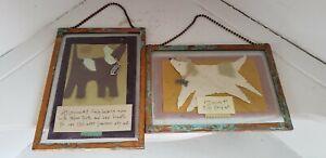 Dog Lover Folk Art Mixed Media Paper Collage Copper Verdigris Frame Glass Hanger