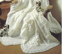 Baby Shawl and Cot Blanket Knitting Pattern Double Knitting leaves and lace 730
