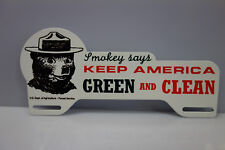 "SMOKEY BEAR AMERICA GREEN & CLEAN License Plate Topper 4"" High 9"" Wide!"