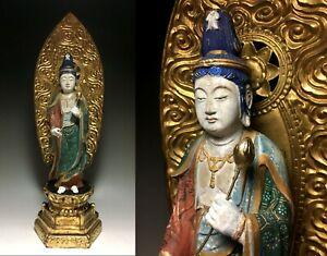 old Japanese Japan,Buddhism wooden Buddha statue kannon,Bodhisattva 56cm 雪