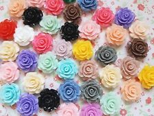 10 x Mixed 20mm Resin Rose Flower Lucite Flatback Embellishment Crafts Cabochon