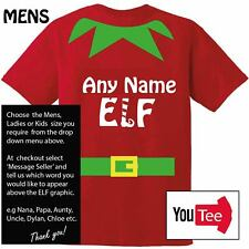 Any name elf t-shirt tshirt PERSONALISED Christmas Xmas elves santa aunty uncle