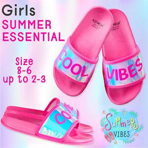 Girls Childrens Summer Waterproof Beach Pool Slip On Sliders Open Toe Flip Flops
