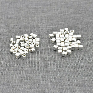 40pcs of 925 Sterling Silver Small Cube Seed Beads for Bracelet Spacer 2.5mm 3mm