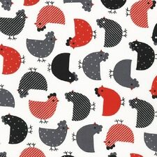 Robert Kaufman Cotton Fabric. Urban zoologie Chickens in Red & Hens. By the FQ