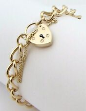 """Solid 9ct 9Carat Yellow Gold Oval Charm Linked Locket Bracelet 8.00"""" Inches"""