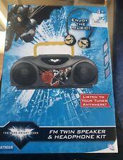 Batman The Dark Knight Rises FM Twin Speaker Headphone Kit DC New And Sealed