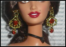 JEWELRY BARBIE DOLL OF THE WORLD SPAIN FAUX GOLD ORNATE RUBY EARRINGS ACCESSORY