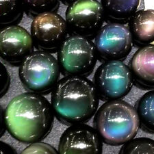 30mm Natural Unique Rainbow Cats Eye Obsidian Quartz Crystal Sphere Ball + Stand