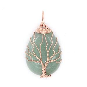 Natural Amethyst Quartz Gem Wire Wrap Tree Of Life Drop Stone Charkra Pendant