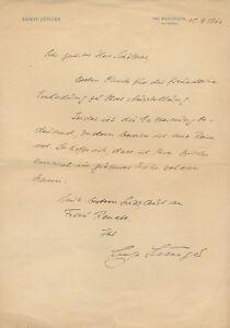 Ernst Jünger: Eigenhändiger Brief mit Unterschrift (1966).