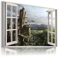 FANTASY WORLD CASTLE KIDS 3D Window View Canvas Wall Art Picture Large W4 MATAGA