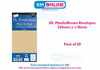 DL Envelopes White/Manila Brown Peel and Seal 220mm x 110mm 80gsm Pack of 50