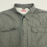 Wrangler Button Up Shirt Men's 3XL XXXL Short Sleeve Gray Casual 100% Cotton