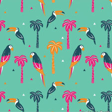 Green TROPICANA BIRDS cotton parrot toucan palm tree tropical summer fabric 1m