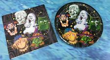 24 PACK HALLOWEEN PAPER PLATES AND NAPKINS (12 OF EACH) GHOST-SKELETON-WITCH