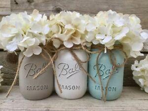 Chalk Painted Mason Jars turquoise 3 Pint Boho wedding decor