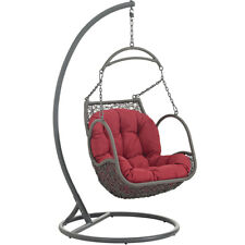 Arbor Outdoor Patio Wood Swing Hanging Chair Red - Modway Outdoor Furniture