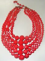 Vintage Germany 5 Strand  Faceted Red Plastic Graduated Bead Necklace