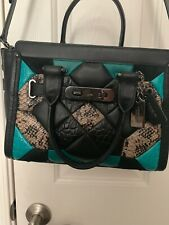 COACH 38365 Canyon Quilt Swagger 27 Carryall Exotic Leather Black Turquoise EUC!