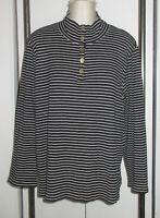 Jones New York 3X 2X Knit Top Shirt Black White Stripe Mock Neck Gold Buttons