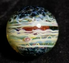 Contemporary Art Glass Marble Borosilicate Handmade Marble UV Reactive Yellow