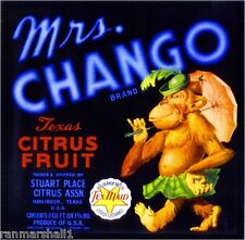 Harlingen Texas Mrs. Chango Orangutan Monkey Orange Fruit Crate Label Art Print