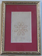 BIRCH BARK BITINGS, NATIVE AMERICAN, 5 X 7 INCHES FRAME WITH RED MATTE, FLOWER