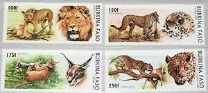 BURKINA FASO 1996 1437-40 1079-82 Wild Cats Wildkatzen Löwe Gepard Leopard MNH