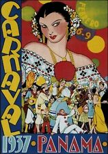 MAGNET Travel Poster Photo Magnet PANAMA 1937 Carnaval