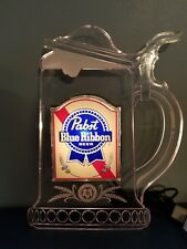(Vtg) 1980's Pabst Beer edge lit Light Up foaming Mug Sign game room man cave