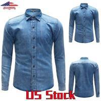 Men's Long Sleeve Button-Down Vintage Denim Shirt T Slim Fit Button Jeans Tops