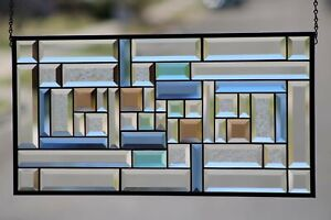 "Multi-Color Totally Beveled Stained Glass Window Hanging Panel 25 1/2"" X 13 """