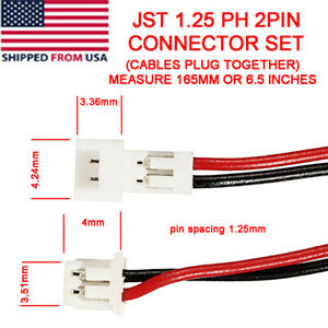 Mini Micro JST 1.25 PH 2 Pin Connectors Male Female With Wire attached Cable Set
