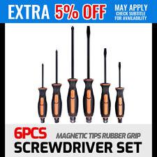 6Pc Thru Screwdriver Set Hammer Hex Head Magnetic Tips Rubber Grip Handle CRV