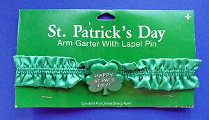 Gibson PIN & ARM Band GARTER St Patrick Vintage SHAMROCK Happy Irish Holiday NEW