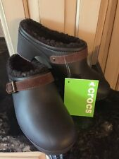 Crocs SARAH FUZZ Lined Clogs shoes HEELS Espresso/Pinecone Size 7 NEW w/tags
